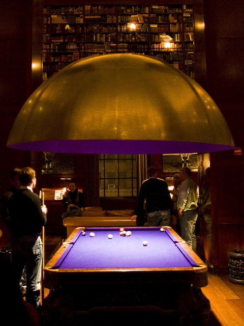 purple pool table