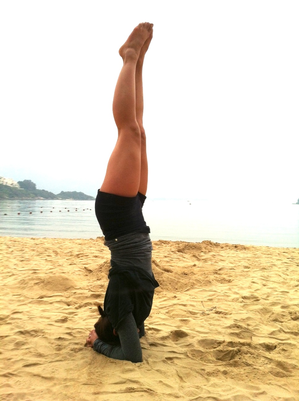 krissa does a headstand
