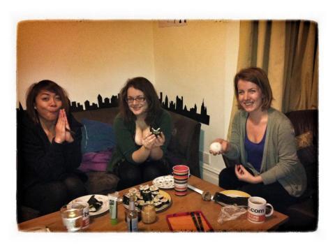 Krissa, Illy and Sarah enjoying homemade sushi