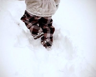 trudging through snow