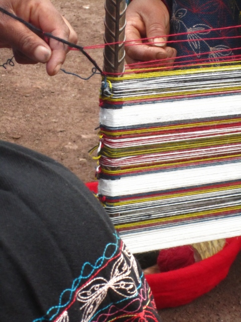 weaving at saqsaywaman, peru