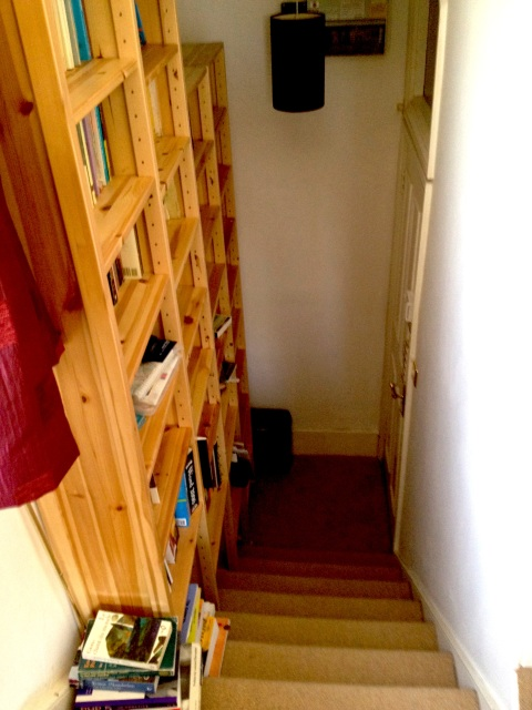 floor-to-ceiling bookshelves