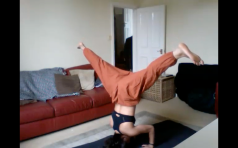 krissa doing a headstand
