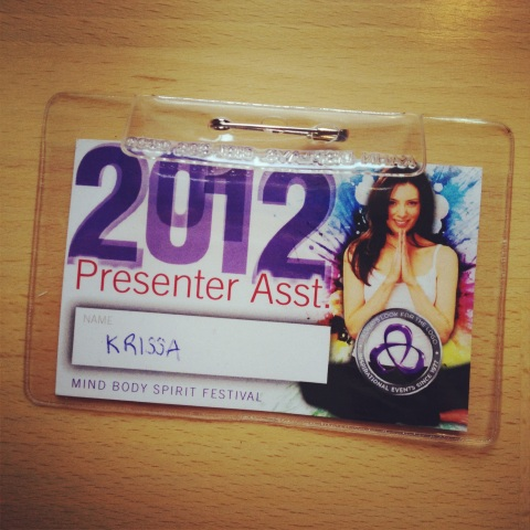 presenter assistant badge, mind body spirit 2012