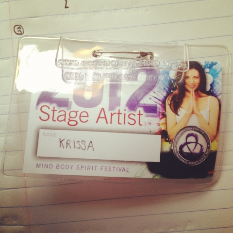 mind body spirit festival 2012 stage artist badge