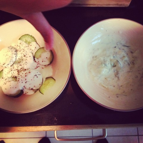 fresh cucumber yoghurt salad VS tzatziki