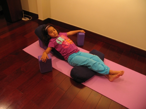yoga block savasana