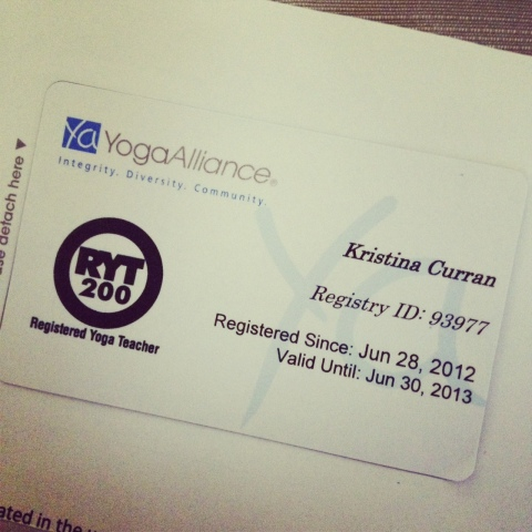 Krissa Curran Yoga Alliance RYT 200