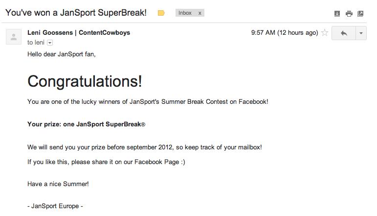 jansport superbreak winner