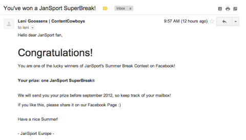 jansport superbreak winner